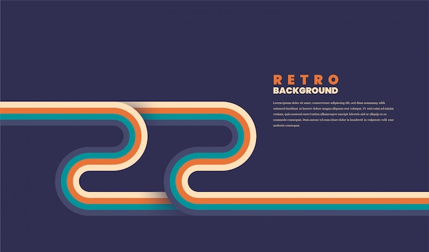 Minimalist retro background with rounded striped elements.