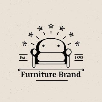 ミニマリストのレトロな家具のロゴ