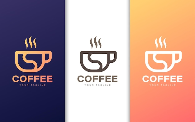 Minimalist s letter logo in coffee cup with modern concept