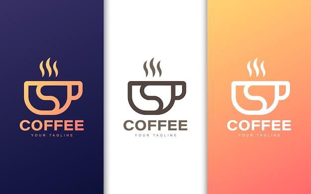 현대적인 컨셉으로 커피 컵에 미니멀리스트 s 문자 로고