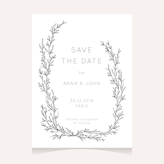 Minimalist save the date card design with hand drawn wreath