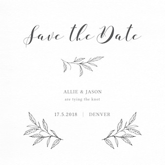 Minimalist save the date card with elegant branches and leaves
