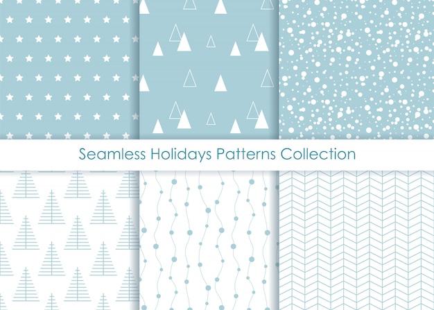 Minimalist seamless holidays prints collection.