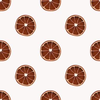 Minimalist seamless pattern with realistic dry orange slices.