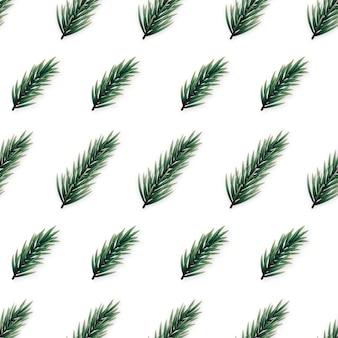 リアルなモミの枝を持つミニマリストのシームレスなパターン。