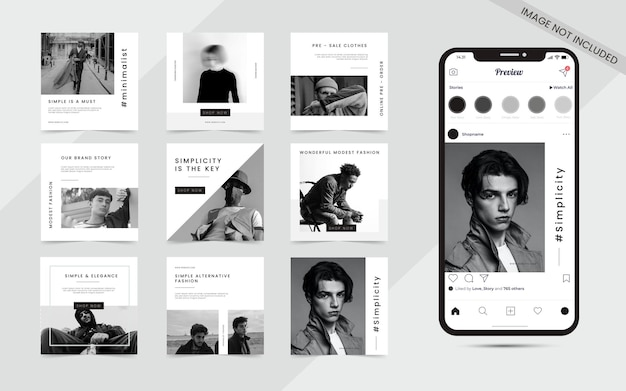 Minimalist seamless social media carousel puzzle feed post set of instagram fashion sale promotion banner template