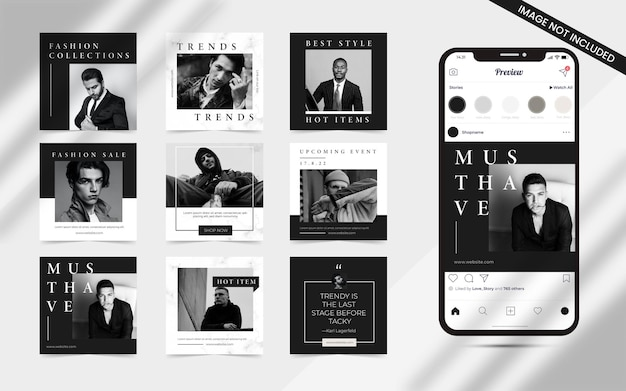 Minimalist seamless social media carousel puzzle post set of instagram fashion sale promotion banner template