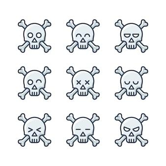 Minimalist skulls icons set