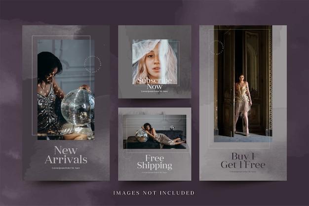 패션 제품에 대한 미니멀리스트 소셜 미디어 광고 인스 타 그램 게시물 및 스토리 템플릿