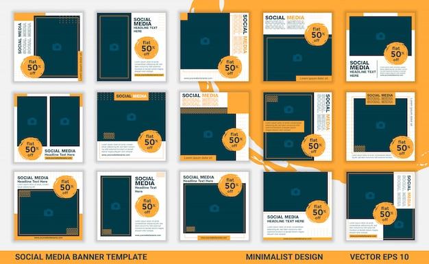 Minimalist social media banner template vector