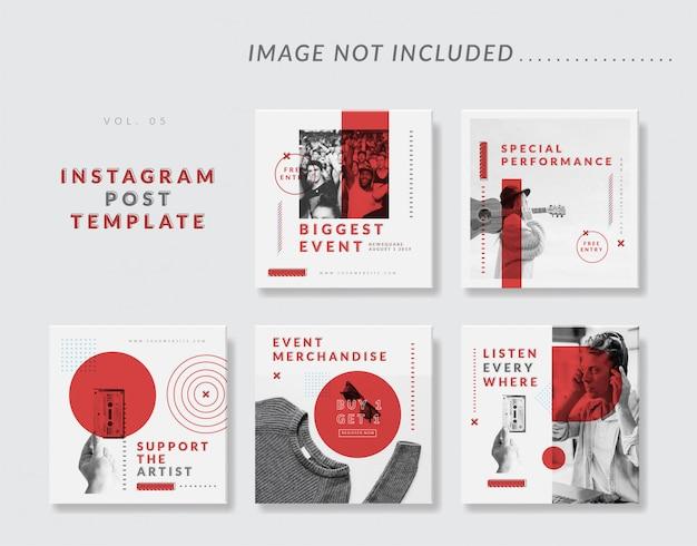 Минималистский социальный медиа instagram пост шаблон для события