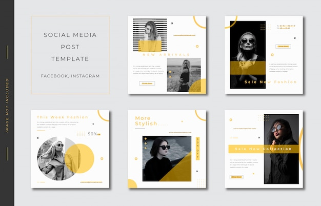 Minimalist social media post template collection