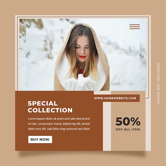 Minimalist  social media post template design for promotion brand fashion and beauty product