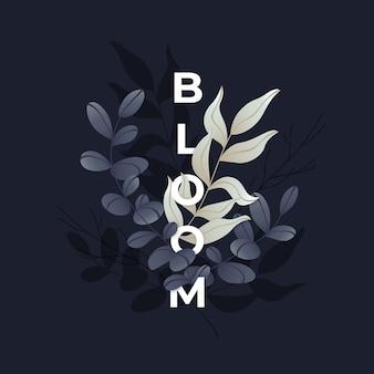 Минималистские весенние листья со словом