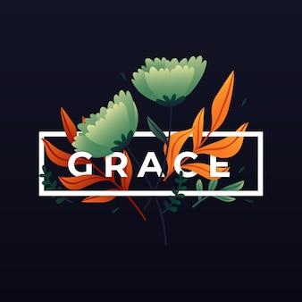 Минималистские весенние листья со словом «грация»