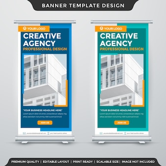 Minimalist stand banner template premium vector
