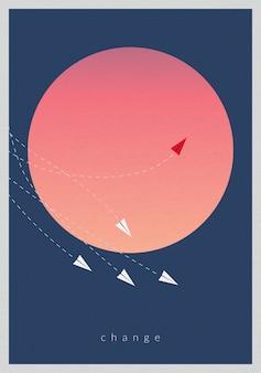 미니멀 스타일의 빨간 비행기 방향과 흰색을 변경합니다.