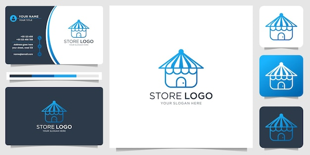 Minimalist store logo fashion shop design. creative store logo with business card design template.