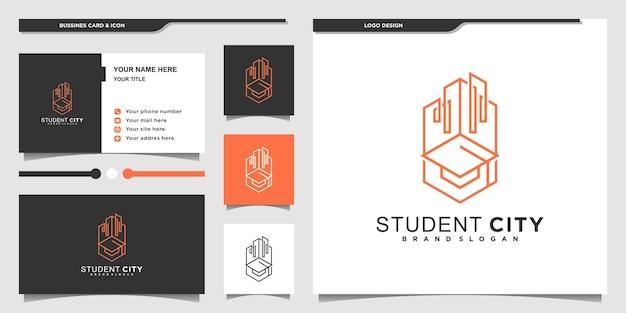 현대적이고 독특한 라인 아트 스타일로 미니멀한 학생 도시 로고 디자인 영감 프리미엄 벡터