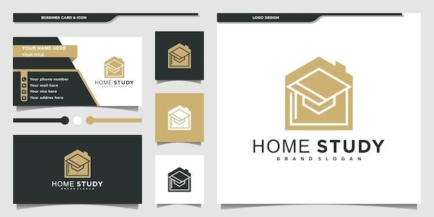 현대적인 개념과 명함 디자인 프리미엄 벡터를 사용한 미니멀한 스터디 홈 로고 디자인 영감