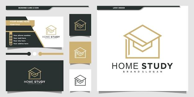 Minimalist study home logo design inspiration with modern concept and business card design premium vektor