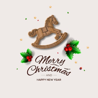 Minimalist style christmas greeting card with red wooden rocking horse,