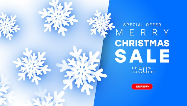 Minimalist style merry christmas sale banner with paper cut snowflake elements with discount text for christmas holiday shopping promotion.