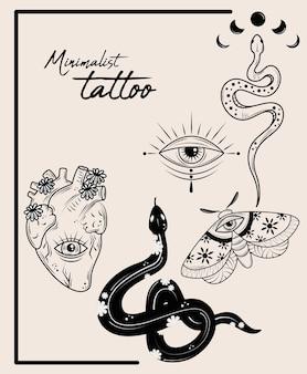 Minimalist tattoo set