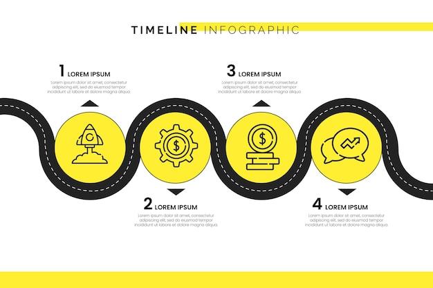 シンプルなタイムライン情報グラフィック