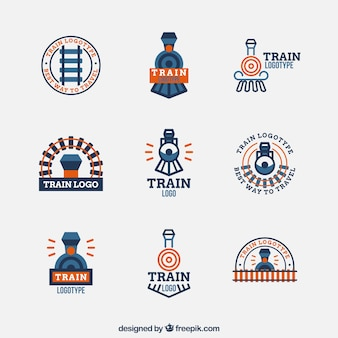 Minimalist train logo collection