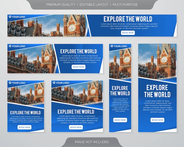 Minimalist travel banner set and promotion kit template