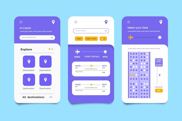 Minimalist travel booking app