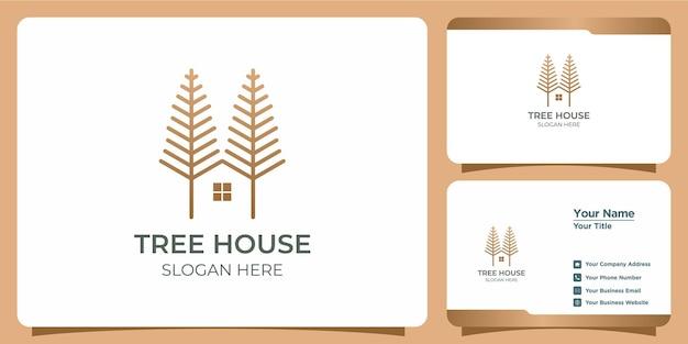 Минималистский логотип домика на дереве с дизайном логотипа в стиле линии арт и шаблоном визитной карточки