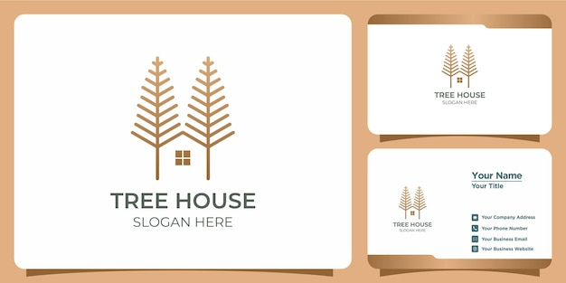 Minimalist tree house logo with line art style logo design and business card template