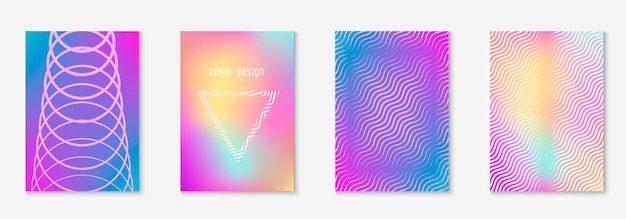 Minimalist trendy cover. holographic. digital booklet, folder, annual report, page layout. minimalist trendy cover with line geometric elements and shapes.