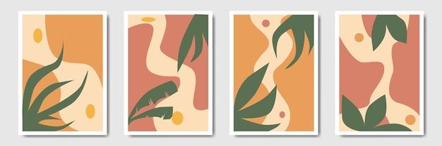 Минималистский рисунок тропической ботанической листвы, рисующий абстрактный лист в богемном стиле