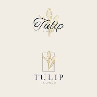 Minimalist tulip flower logo design hand drawing