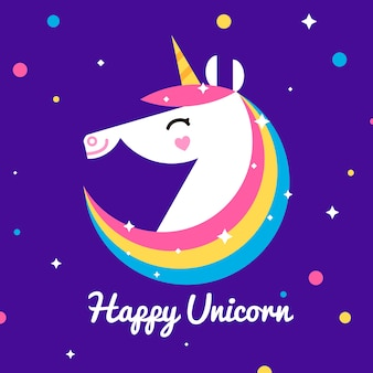Minimalist unicorn background with stars