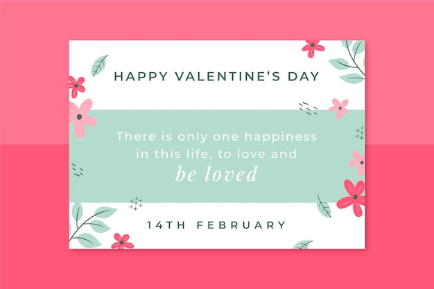 Minimalist valentine's day template card Free Vector