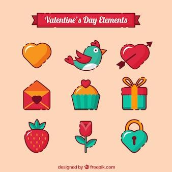Minimalist valentine's elements in flat design