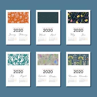 Minimalist vector flower calendar template