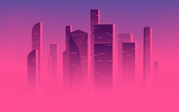 Minimalist vector illustration of a skyscrapers above the clouds, city highrises in a misty fog.