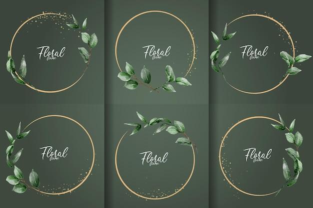 Минималистичная коллекция акварельных цветочных рамок с элегантными рисованными листьями
