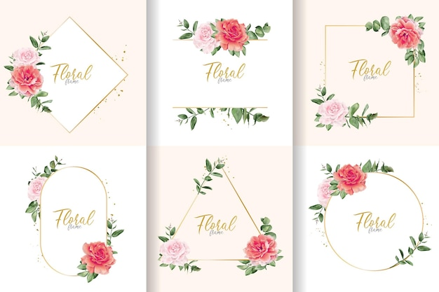 Minimalist watercolor floral frame collection with hand drawn flower and leaves