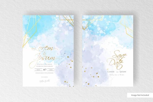 손으로 그린 꽃과 수채화 스플래시 디자인 미니멀 수채화 웨딩 카드 템플릿