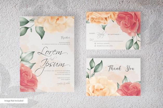 Минималистский шаблон акварельной свадебной открытки с реалистичным цветком