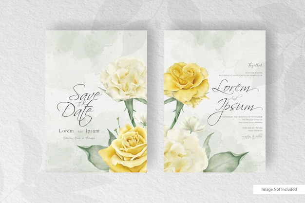 Minimalist watercolor wedding card template with realistic flower Premium Vector