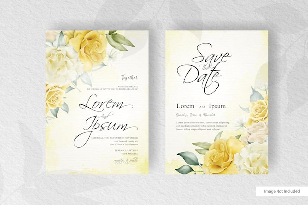 Minimalist watercolor wedding card template with realistic flower