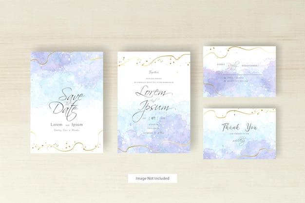 수채화 스플래시와 추상 손으로 그린 동적 유체와 미니멀리스트 수채화 웨딩 카드 템플릿