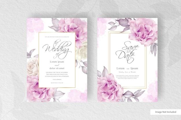 Минималистичный акварельный дизайн шаблона свадебного приглашения с цветочной композицией